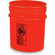 Plastic Pail - 5-Gal. Capacity - Red - Pkg Qty 4