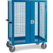 """Relius Elite Wire Security Truck - 48"""" Wx24"""" Dx60"""" H - 8"""" Gray Non-Marking Rubber Casters - Blue"""