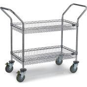 """Relius Solutions Chrome Wire Basket Carts - 48""""Wx24""""D Shelf - 3-1/2""""D Basket"""