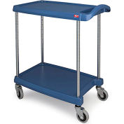 Metro myCart™ 2-Shelf Utility Cart with Chrome-Plated Posts -31-1/2 x 18-5/16 -Blue