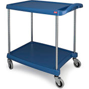 "Metro myCart™ Two-Shelf Utility Cart with Chrome-Plated Posts - 28x23"" Shelves Blue"