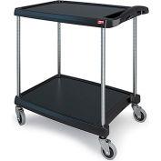"Metro myCart™ Two-Shelf Utility Cart with Chrome-Plated Posts - 28x23"" Shelves Black"