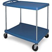 Metro myCart™ 2-Shelf Utility Cart with Chrome-Plated Posts - 40-1/4 x 27-11/16- Blue