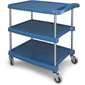 "Metro myCart™ Three-Shelf Utility Cart with Chrome-Plated Posts - 28x23"" Shelves Blue"
