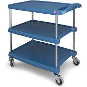 Metro myCart™ 3-Shelf Utility Cart with Chrome-Plated Posts - 34-3/8 x 23-7/16- Blue