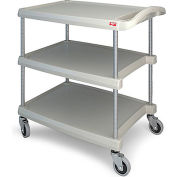 Metro myCart™ 3-Shelf Utility Cart with Chrome-Plated Posts - 34-3/8 x 23-7/16  Gray