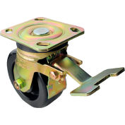 "Albion Yellow Zinc Chromate Finish Casters - 5""Dia.x2""W Phenolic Wheel Swivel with Total Lock Brake"