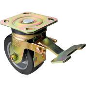 "Albion Yellow Zinc Chromate Finish Caster- 5""D x 2""W Rubber Tread Wheel on Alum. Core Swivel w/Brake"