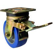 "Albion Yellow Zinc Chromate Finish Caster- 5""D x 2""W Polyurethane Tread Wheel Core Swivel w/Brake"