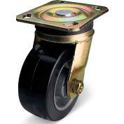 "Albion Yellow Zinc Chromate Finish Caster- 6""D x 2""W Rubber Tread Wheel on Aluminum Core Swivel"