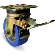 "Albion Yellow Zinc Chromate Finish Caster- 6""D x 2""W Polyurethane Tread Wheel Swivel w/Brake"