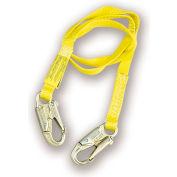 Miller P4164 Webbing Lanyard, 6', Double Locking Snap Hooks, Bright Yellow