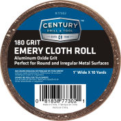 "Century Drill 77302 Emery Cloth Shop Roll 10 Yards 1"" Wide 180 Grit"