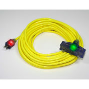 Pro Glo® D17223025 Triple Tap Extension Cord With 25 ft Cord, 12/3 Awg Sz, Yellow