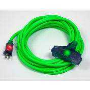 Pro Glo® D17224050 Triple Tap Extension Cord With 50 ft Cord, 12/3 Awg Sz, Green