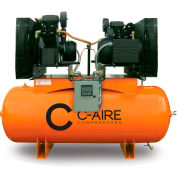 C-AIRE A050D120-1230 Two Stage Air Compressor, 5 HP, 230V, 1PH, 120 Gal. Duplex Horizontal Tank