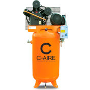 C-AIRE A075V080-1230, 7.5 HP, Two-Stage Compressor, 80 Gal, Vertical, 175 PSI, 24 CFM, 1-Phase, 230V