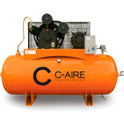 C-AIRE A100H120-3460 Two Stage Air Compressor, 10 HP, 460V, 3PH, 120 Gal. Horizontal Tank