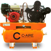 C-AIRE A130H030-G, 13 HP, Stationary Gas Comp, 30 Gallon, 175 PSI, 30.7 CFM, Honda,  Electric/Recoil