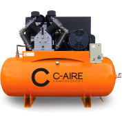 C-AIRE A150H120-3230FP Two Stage Air Compressor-FP, 15 HP, 230V, 3PH, 120 Gal. Horizontal Tank