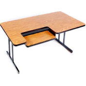 "Correll Bi-Level Computer Table, 30"" x 72"", Medium Oak"