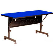"Correll Deluxe Commercial Duty Flip Top Table, 24"" x 48"" Blue"