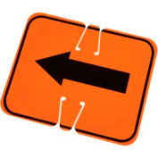 Cone Sign- Keep Left, Black On Orange W/ Arrow - Pkg Qty 5