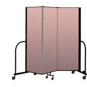 """Screenflex Portable Room Divider 3 Panel, 6'H x 5'9""""L, Vinyl Color: Mauve"""