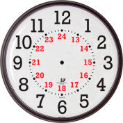 "12-3/4"" Wall Clock, Slimline 12/24-Hour Quartz"