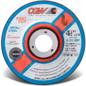 "CGW Abrasives 36219 Depressed Center Wheel 4-1/2"" x 1/8"" x 7/8"" 24 Grit T27 Aluminium Oxide - Pkg Qty 25"