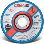 "CGW Abrasives 36220 Depressed Center Wheel 4-1/2"" x 1/8"" x 5/8-11"" 24 Grit T27 Aluminium Oxide - Pkg Qty 10"