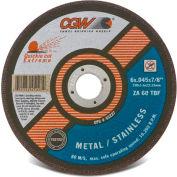 "CGW Abrasives 45286 Cut-Off Wheel 6"" x 7/8"" 60 Grit Type 1 Zirconia Aluminium Oxide - Pkg Qty 25"