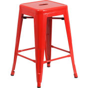 "Flash Furniture 24""H Backless Counter-Height Stool - Metal - Square - Red"