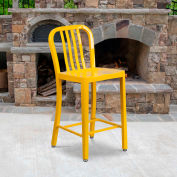"""Flash Furniture 24""""H Yellow Metal Counter Height Stool with Vertical Slat Back"""