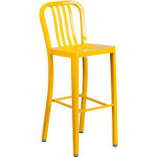 "Flash Furniture 30""H Yellow Metal Barstool with Vertical Slat Back"