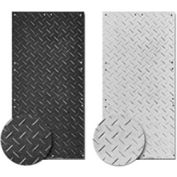 Checkers® AlturnaMATS® HDPE Ground Protection Mat, 4' x 8', Black, Smooth 1-Side, AM48S1