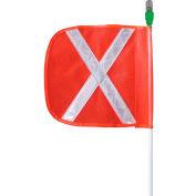 "Checkers® 8' All Purpose Warning Whip w/ 12"" Orange Flag, Amber Flashing LED, AP8.12OW.AF"