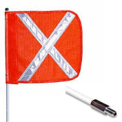 "10' Heavy Duty Standard Threaded Hex Base Warning Whip w/o Light, 16""x16"" Orange w/ X Rectangle Flag"