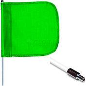 "3' Heavy Duty Standard Threaded Hex Base Warning Whip w/o Light, 12""x11"" Green Rectangle Flag"