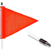 "3' Heavy Duty Standard Threaded Hex Base Warning Whip w/o Light, 12""x9"" Orange Triangle Flag"