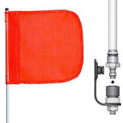 "6' Heavy Duty Quick Disconnect Warning Whip w/o Light, 12""x11"" Orange Rectangle Flag"