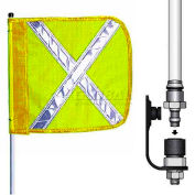 "6' Heavy Duty Quick Disconnect Warning Whip w/o Light, 16""x16"" Yellow w/ X Rectangle Flag"