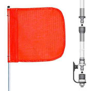 "8' Heavy Duty Split Pole Warning Whip w/o Light, 12""x11"" Orange Rectangle Flag"