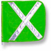 "Heavy Duty Flag, 12""x11"" Green w/ White X"
