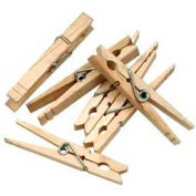 """Chenille Kraft® Spring Clothes Pins, 3-3/8""""L, Natural, 50/Pack"""