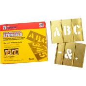 """1""""  Brass Interlocking Stencil Letters, 33 Piece Set"""