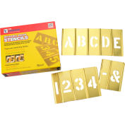 """6"""" Brass Interlocking Stencil Letters and Numbers, 45 Piece Set"""