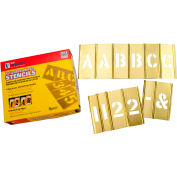 """3/4"""" Brass Interlocking Stencils Letters and Numbers, 77 Piece Set"""