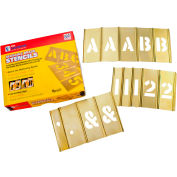 """4"""" Brass Interlocking Stencil Letters and Numbers, 92 Piece Set"""