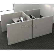 """Compatico CMW Double Call Center Station w/ Electric 48""""W x 96""""D x 41""""H - Metallic Silver"""